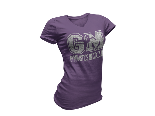 Silver Glitter Purple Gymnastics Mom Tee