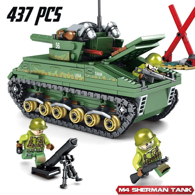 Sherman M4 Tank Building Blocks Constructor WW2 Toys for Children