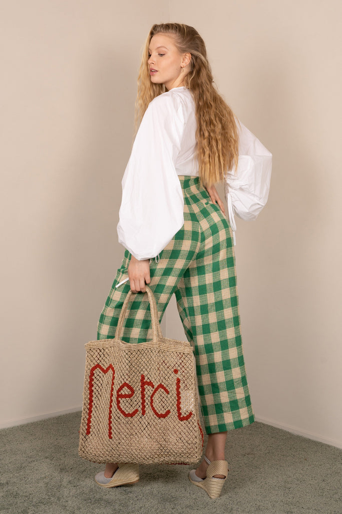 High Waisted Emerald Check Macro Vichy Trousers - Phisique du Role