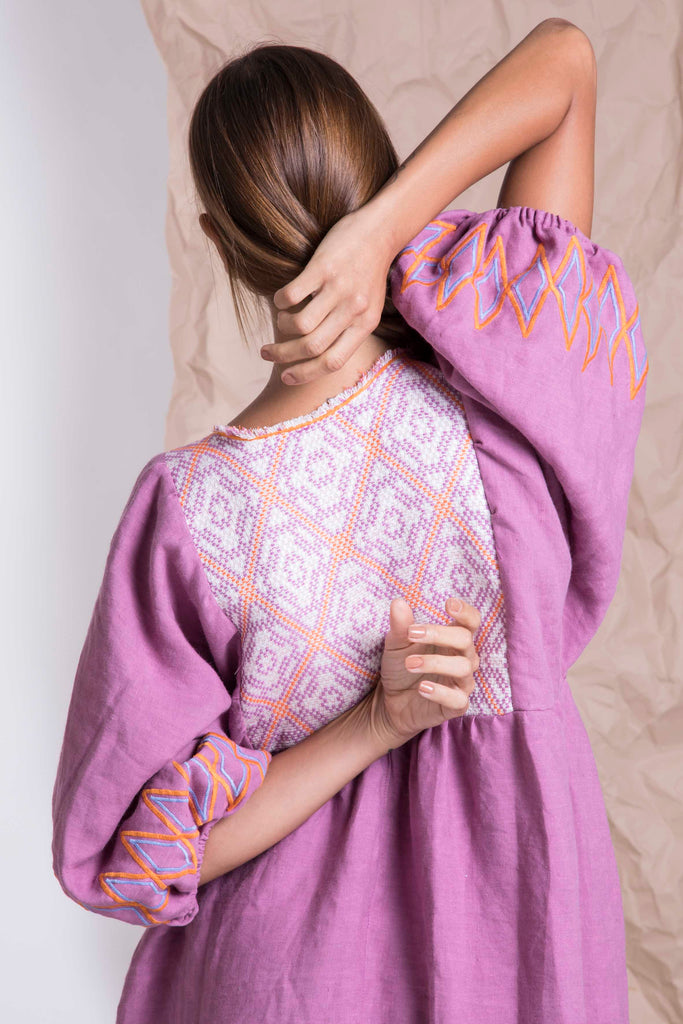 Purple linen bohemian maxi dress from Nina Leuca