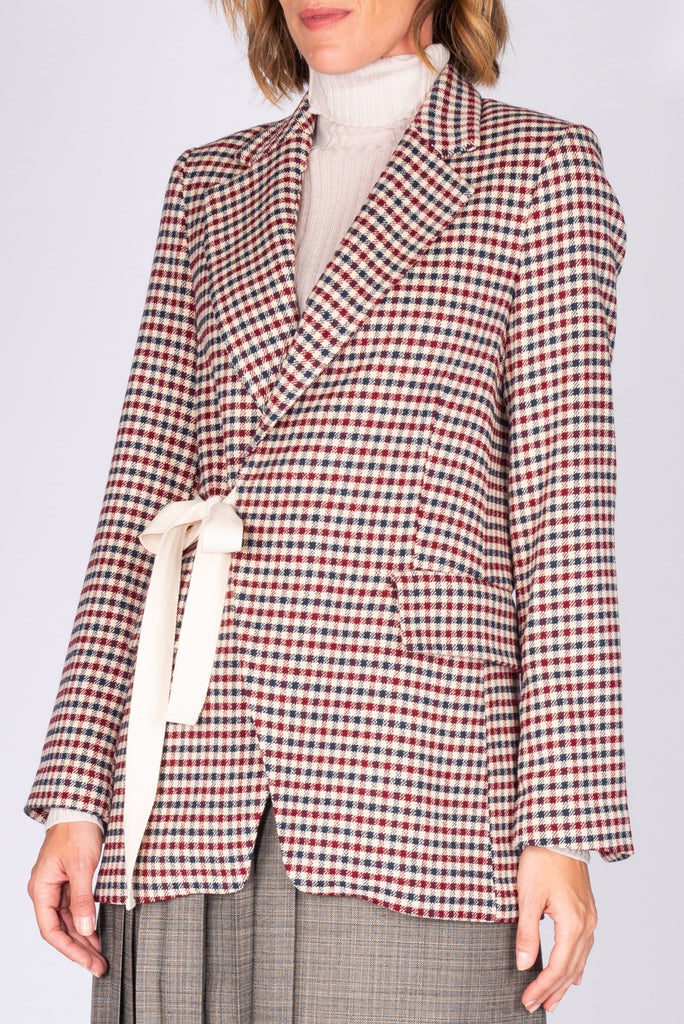 Check jacket with detachable pleated skirt - Phisique Du Role