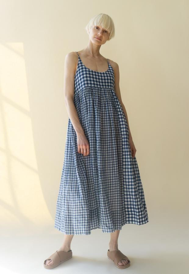 Blue madras Slip Dress - Injiri