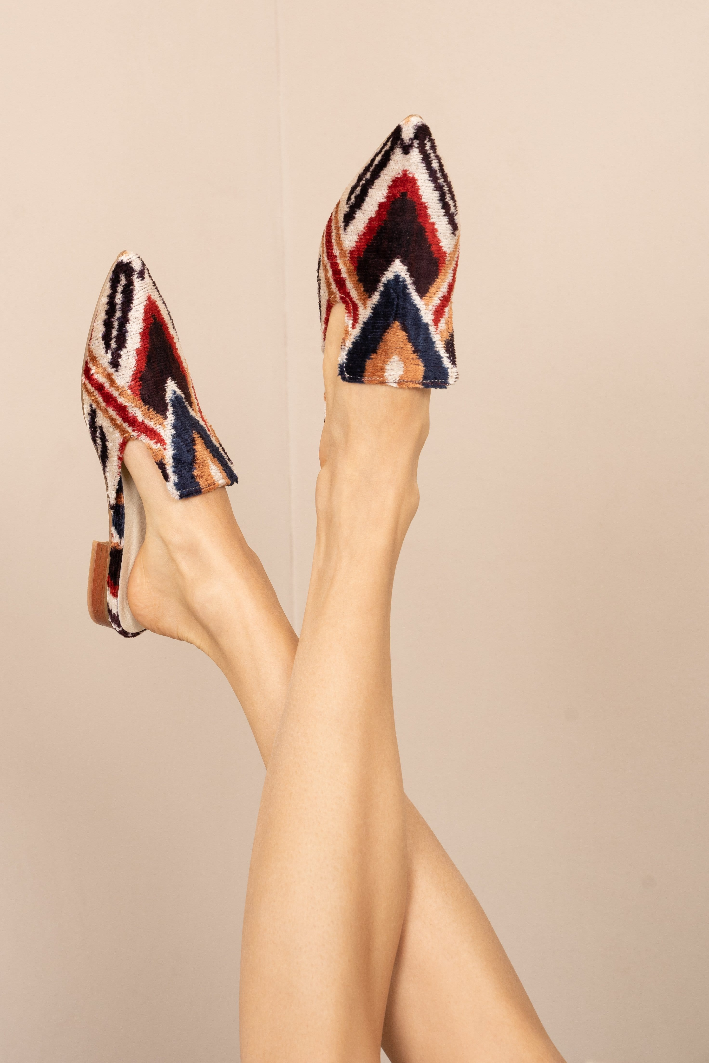 Handwoven Mules (rust, black, red) - Belle Ikat