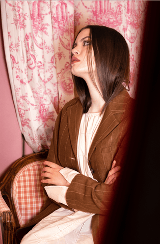 Dark Brown striped Blazer - Phisique du role