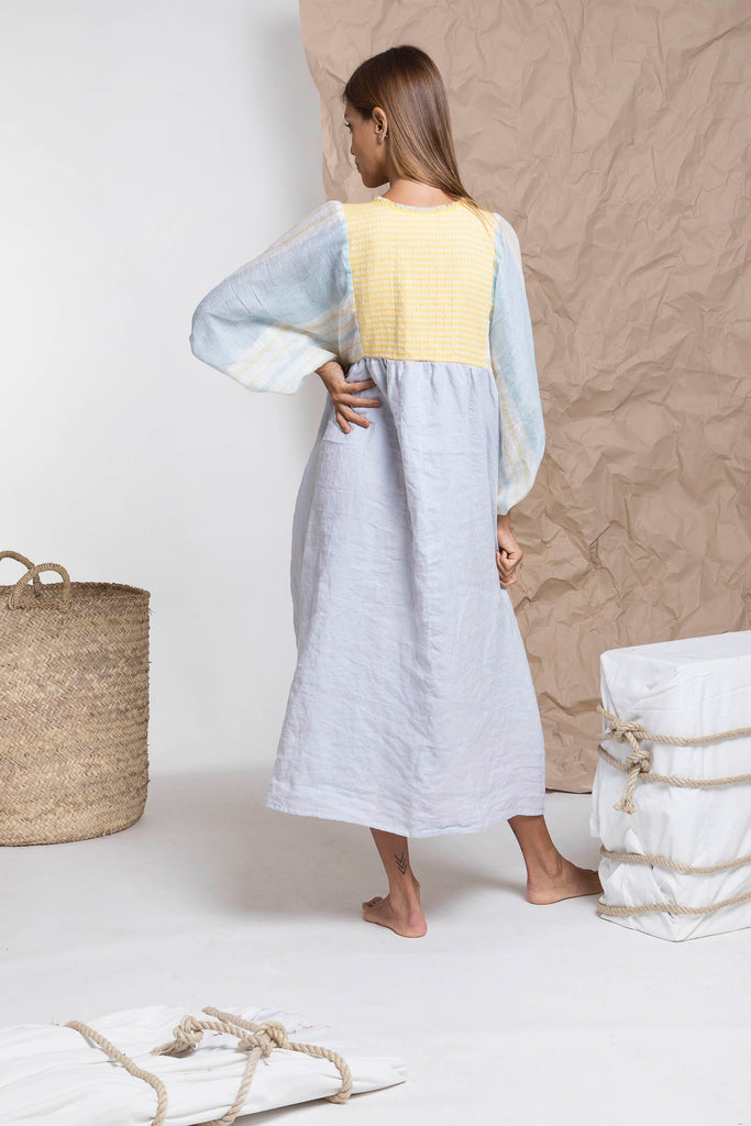 Light blue yellow bohemian linen midi dress from Nina Leuca