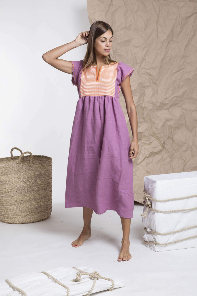 Purple-orange bohemian linen dress from Nina Leuca