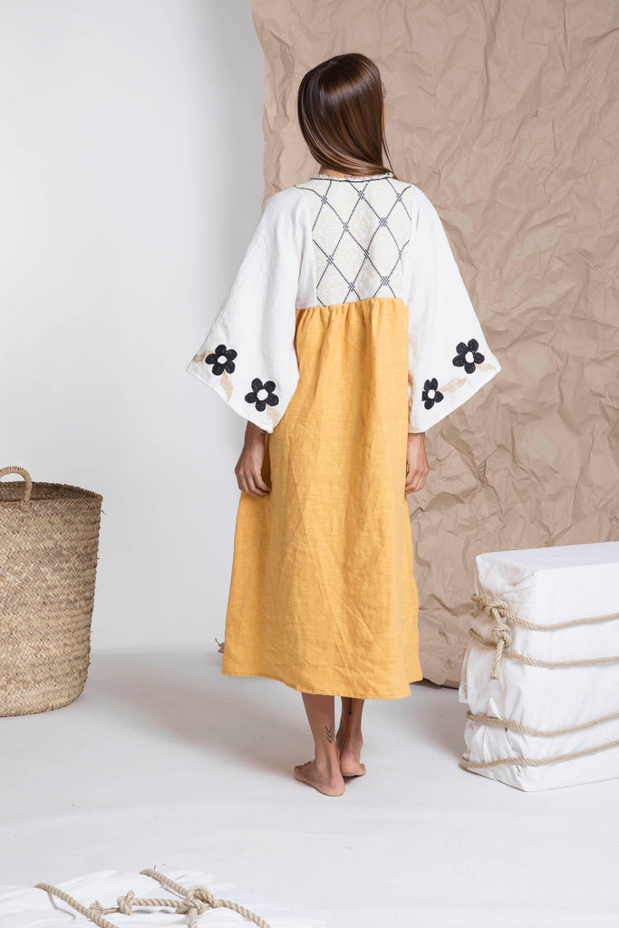 White, ochre, and black linen resort dress - Nina Leuca