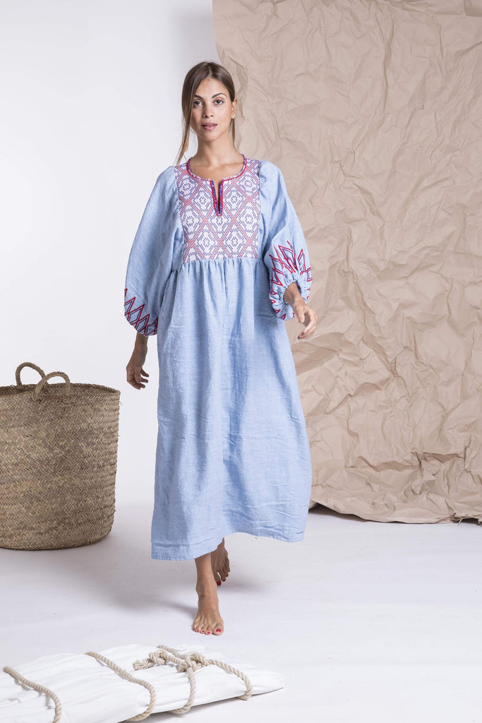 Light blue linen bohemian midi dress from Nina Leuca
