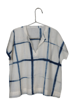 White and Blue Cotton short sleeve Blouse - Injiri