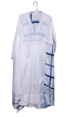 Wide White blue  Silk  Maxi Dress - Injiri