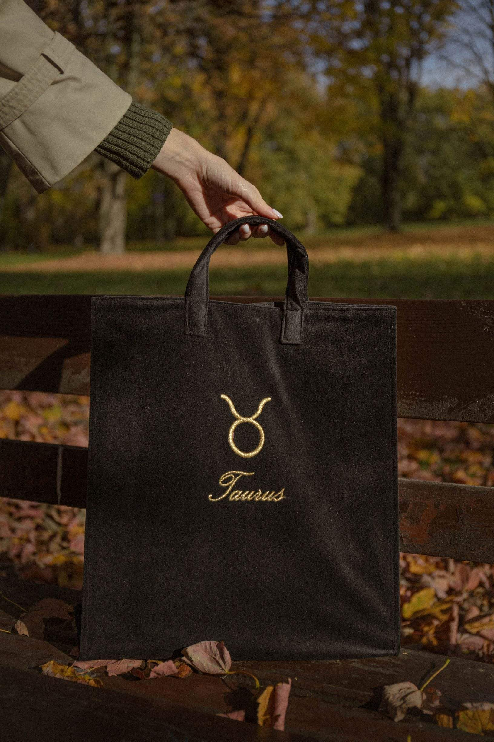 Black velvet zodiac bag for Taurus from Nina Leuca