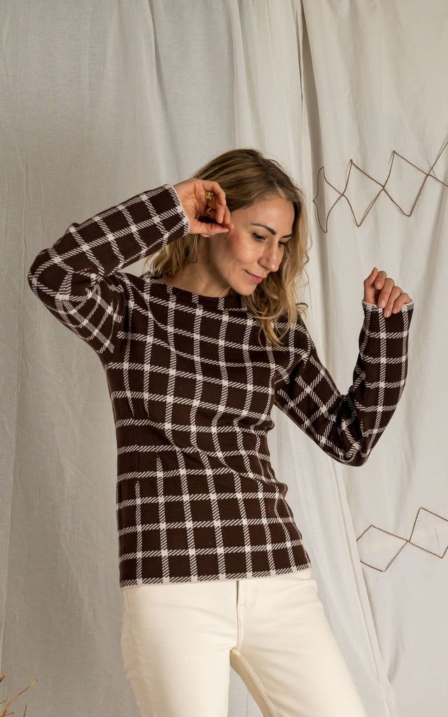 Brown check sweater - Phisique Du Role