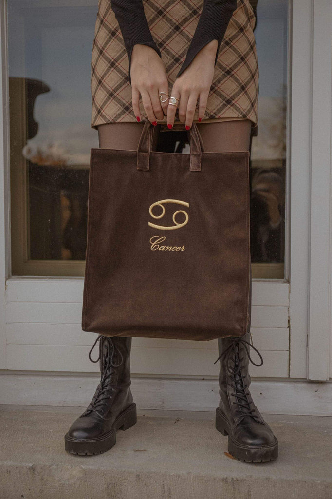 Brown velvet zodiac bag for Cancer from Nina Leuca