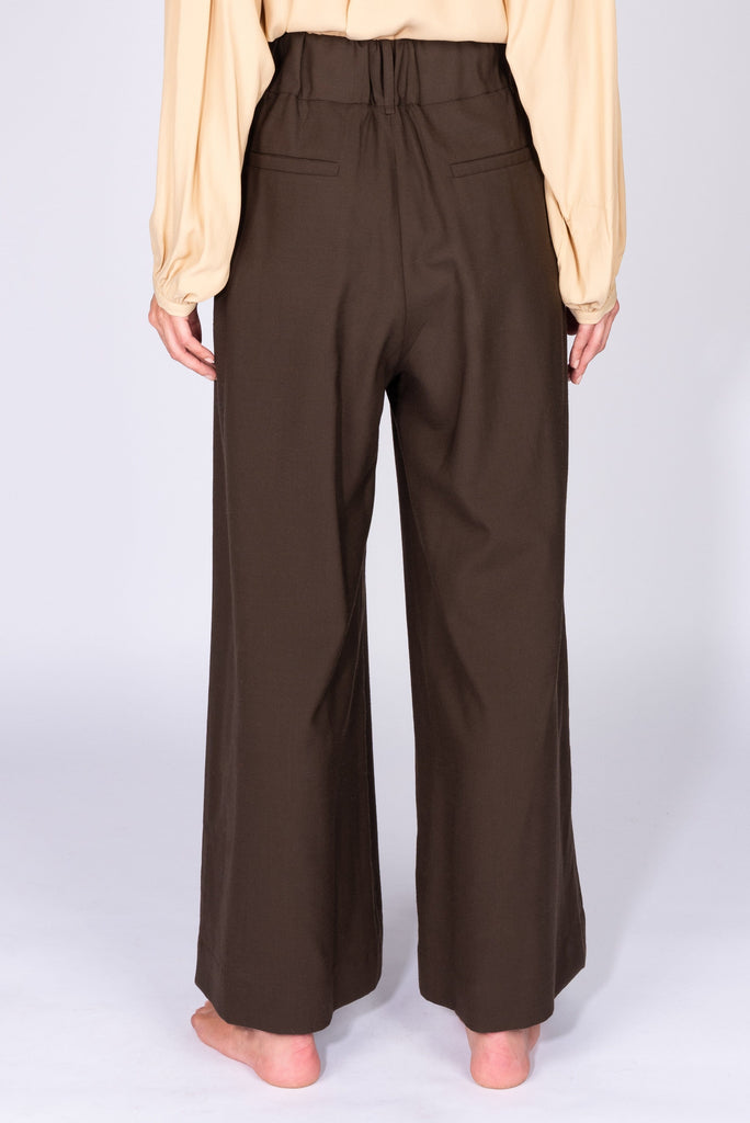 Brown wide-leg wool trousers - Phisique Du Role