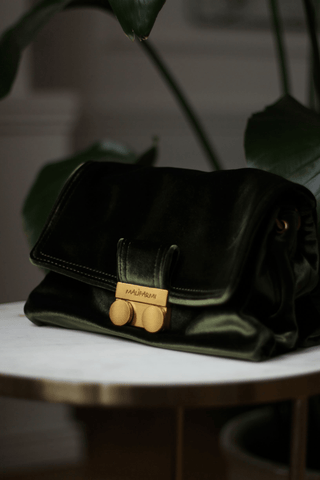 Khaki small velvet crossbody bag