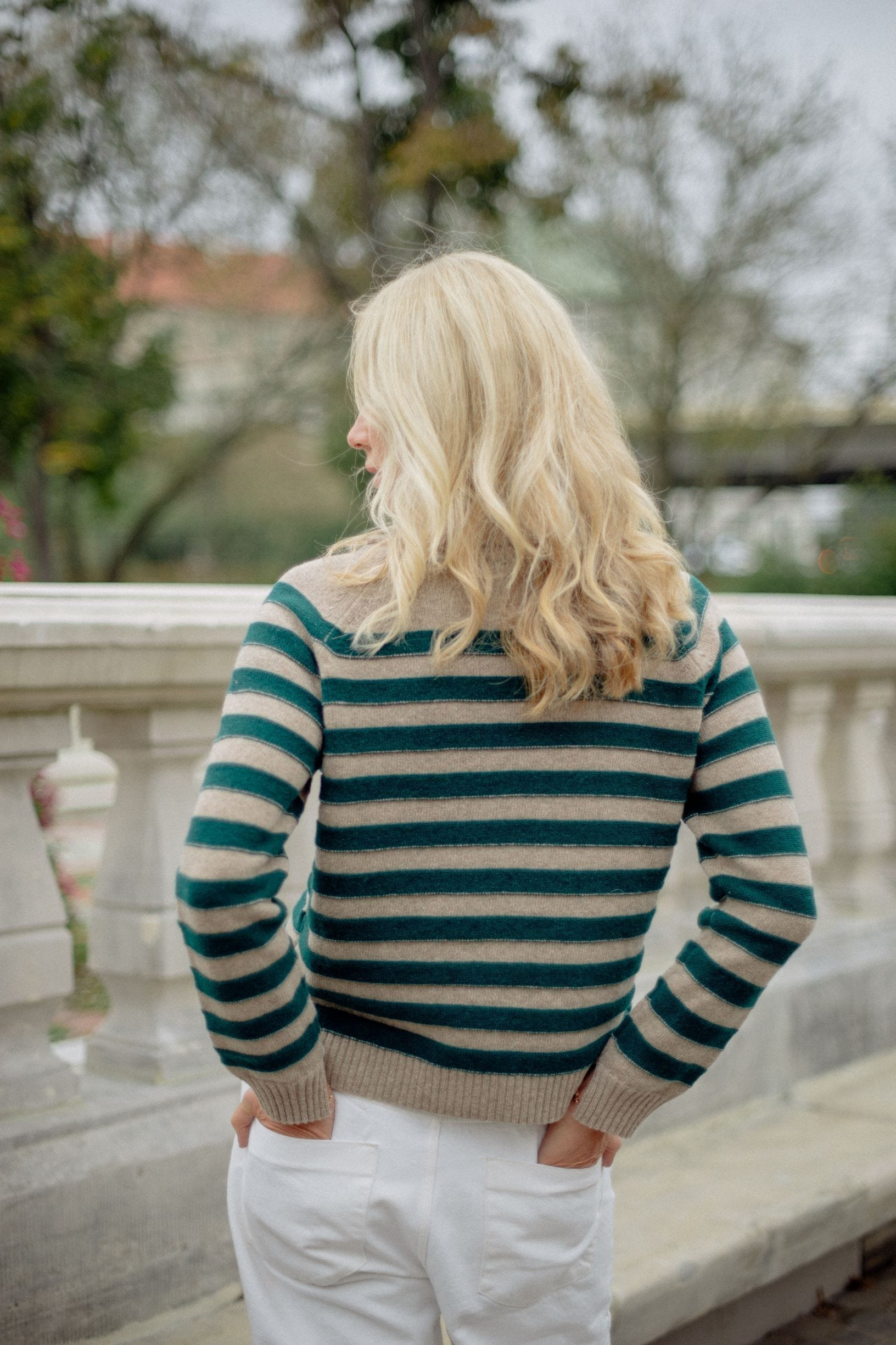 Ecru-green striped sweater - Phisique Du Role