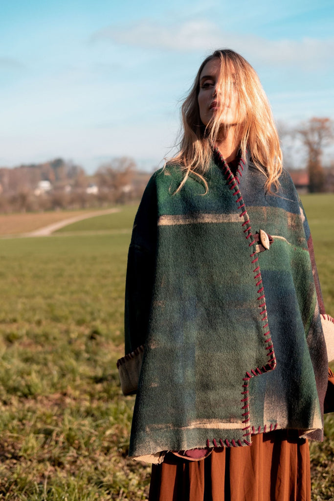 Green oversized wool jacket from Obidi