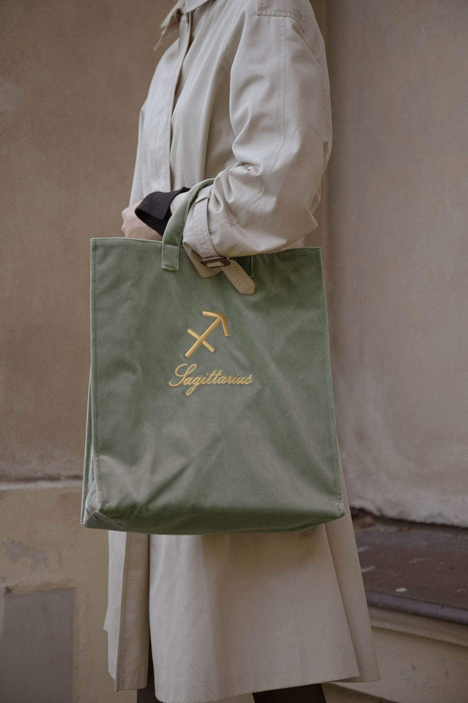 Light green velvet zodiac bag for Sagittarius from Nina Leuca