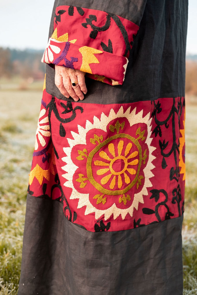 Multicolored Suzani vintage coat from Belle Ikat