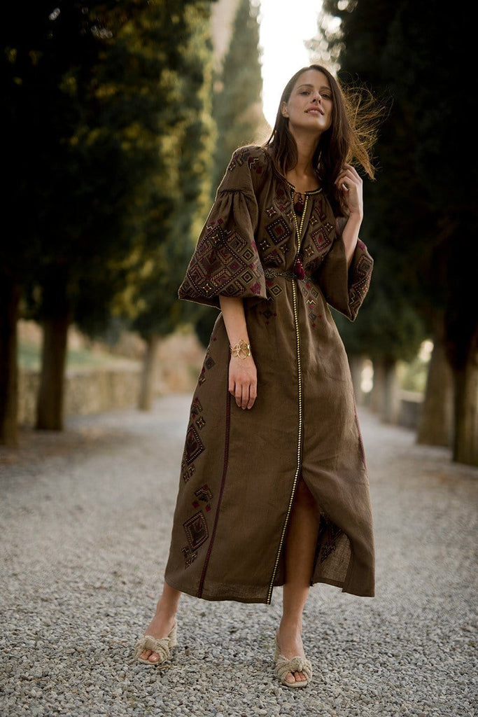 Brown midi dress - My Sleeping Gypsy