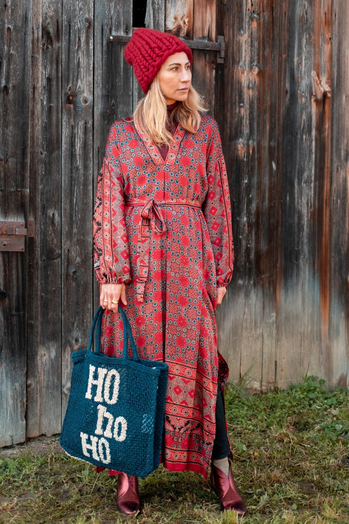 Red silk handprinted kimono dress from Obidi