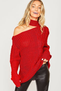 "The ""Husker Red"" One Shoulder Chunky Cable Sweater"