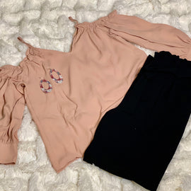 """Blush""- COLD SHOULDER WITH RUFFLES SHIRT"