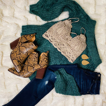 Off the Shoulder Cactus Green Sweater