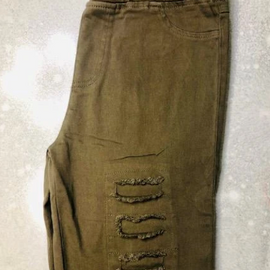 "The "" Can't Stop You"" Olive- High waist distressed jeggings"