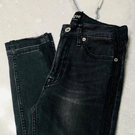 """Lucky In Love"" Medium Denim- Denim Stretch 5 Pocket Jean w/ Exposed Hem and Side Leg Detail"