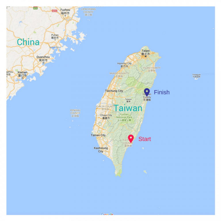 Map of Taiwan solo bike packing trip