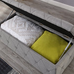 Blanket Box - Soft Light Grey  Linen with Plain Button