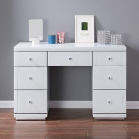 Hollywood Dressing Table - White Glass