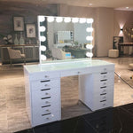 Hollywood Dressing Table 13 drawers - White Glass