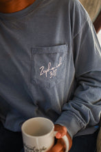 Load image into Gallery viewer, Zephaniah 3:17 Long Sleeve Pocket // Blue Jean