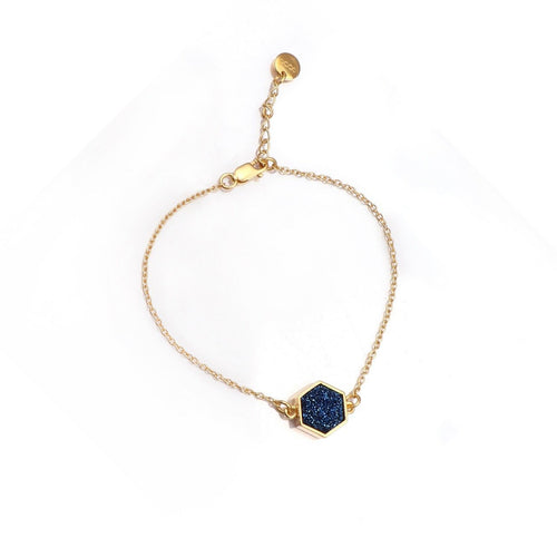 Night Sky Hexagon Bracelet/18k Yellow Gold & Titanium Druzy - infinityXinfinity.co.uk