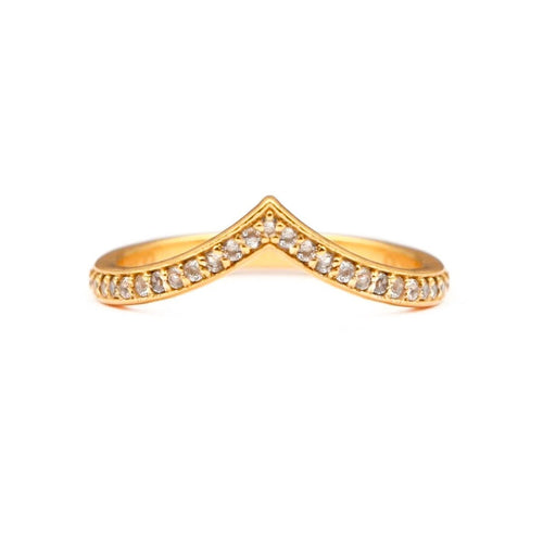 Curved V Stacker Ring/18k Yellow Gold & White Topaz - infinityXinfinity.co.uk