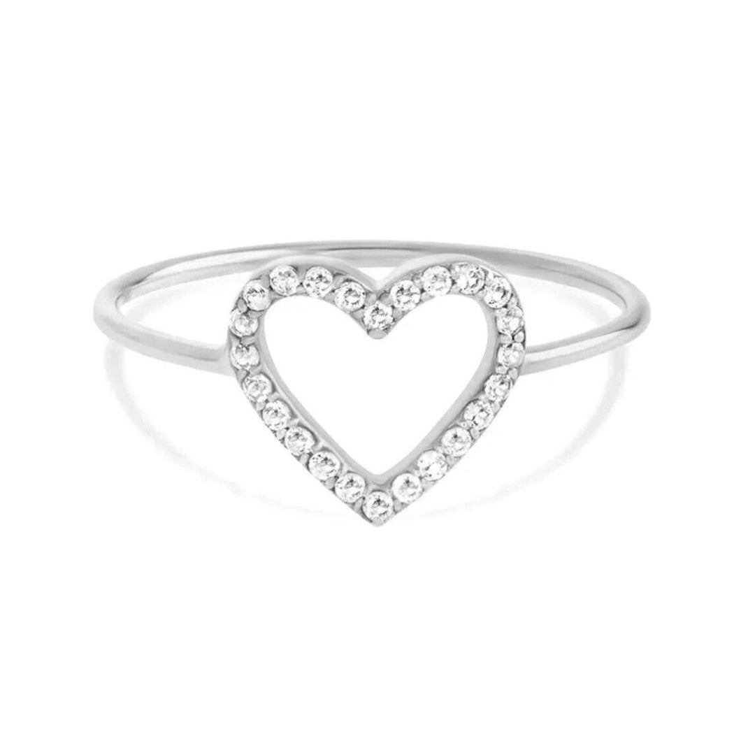 Cute Heart Ring/18K White Gold & Cubic Zirconia - infinityXinfinity.co.uk