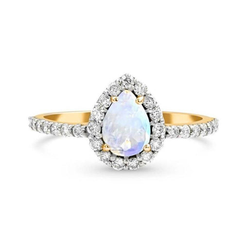 Teardrop Halo Statement Ring/18K Yellow Gold With Rainbow Moonstone & White Topaz - infinityXinfinity.co.uk