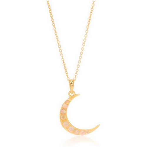 Opal Crescent Moon Necklace/18k Yellow Gold Vermeil - infinityXinfinity.co.uk