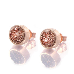 Sunset Sparkles Statement Earrings/18K Rose Gold & Rose Titanium Druzy - infinityXinfinity.co.uk