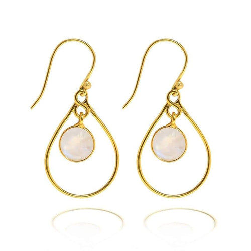 Single Teardrop Hoop Earrings/18K Yellow Gold & Rainbow Moonstone - infinityXinfinity.co.uk