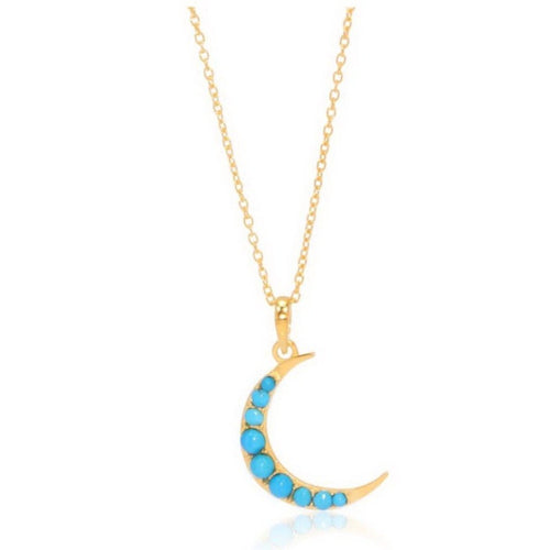 Crescent Moon Necklace/18k Yellow Gold Vermeil & Turquoise - infinityXinfinity.co.uk