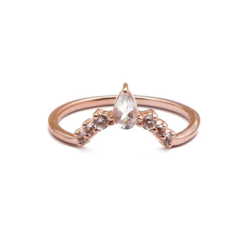 Elegant V Shaped Stacker Ring/18K Rose Gold & White Topaz - infinityXinfinity.co.uk