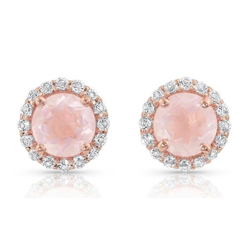 Rose Halo Stud Earrings/18k Rose Gold Vermeil & Rose Quartz & White Topaz - infinityXinfinity.co.uk