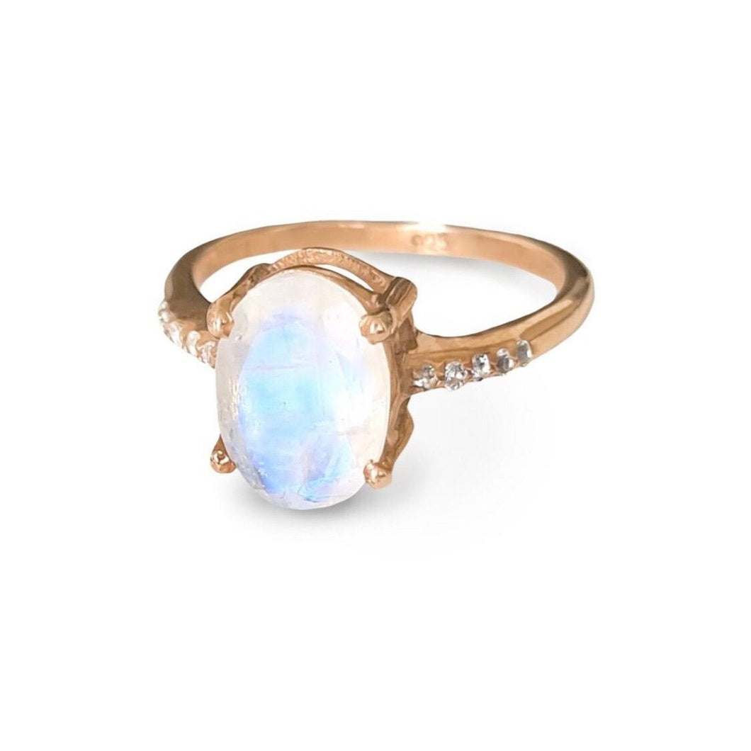 The Enchanted Ring/18k Rose Gold Vermeil with Rainbow Moonstone and White Topaz - infinityXinfinity.co.uk