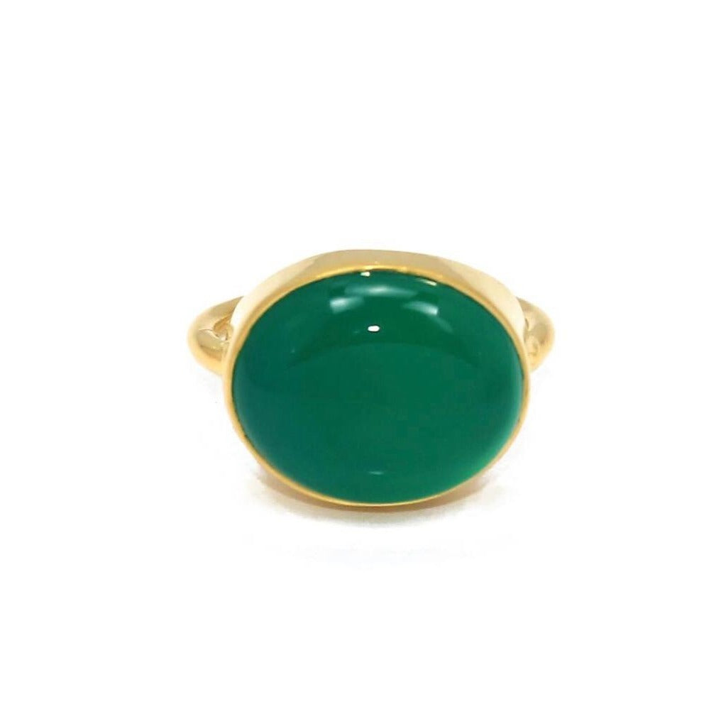 Green Onyx Ring/18k Yellow gold Vermeil - infinityXinfinity.co.uk