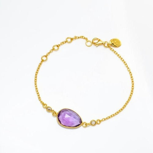 Princess Bracelet/18k yellow Gold with Amethyst & White Topaz - infinityXinfinity.co.uk