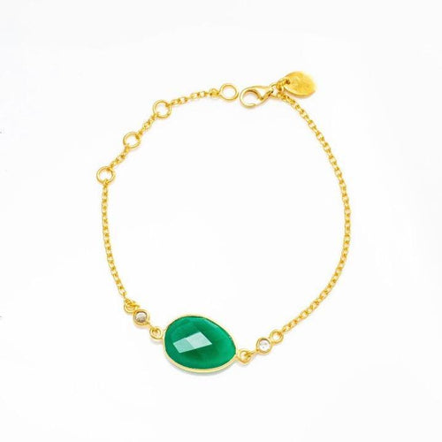 Green Onyx Bracelet/18k yellow Gold Vermeil & White Topaz - infinityXinfinity.co.uk