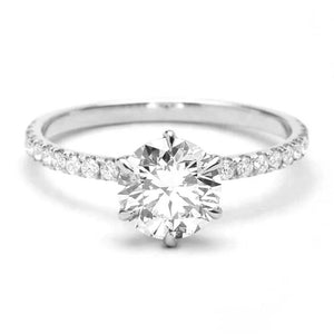 Solitaire Promise Ring with side stones/18K White Gold & Cubic Zirconia - infinityXinfinity.co.uk